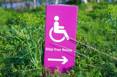 Pink accessible AODA lawn sign