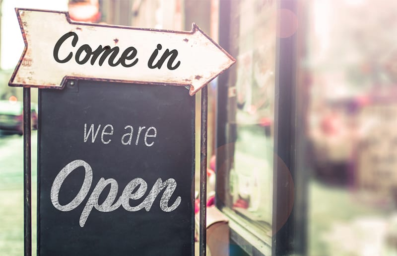 open sign for small businesses